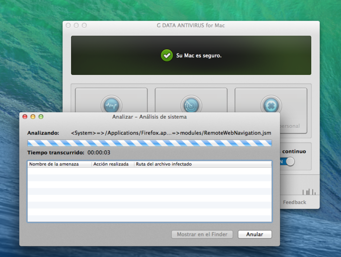 Screenshot G DATA Antivirus para Mac – System Scan
