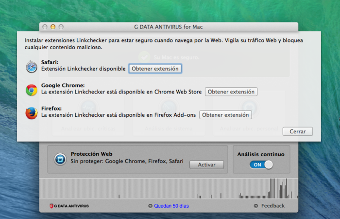 Screenshot G DATA Antivirus para Mac – Web Protection